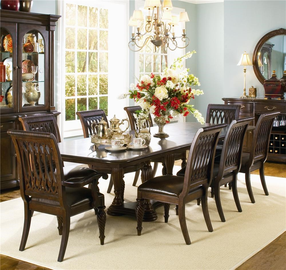 bernhardt belmont double pedestal dining table and 8 dining chairs