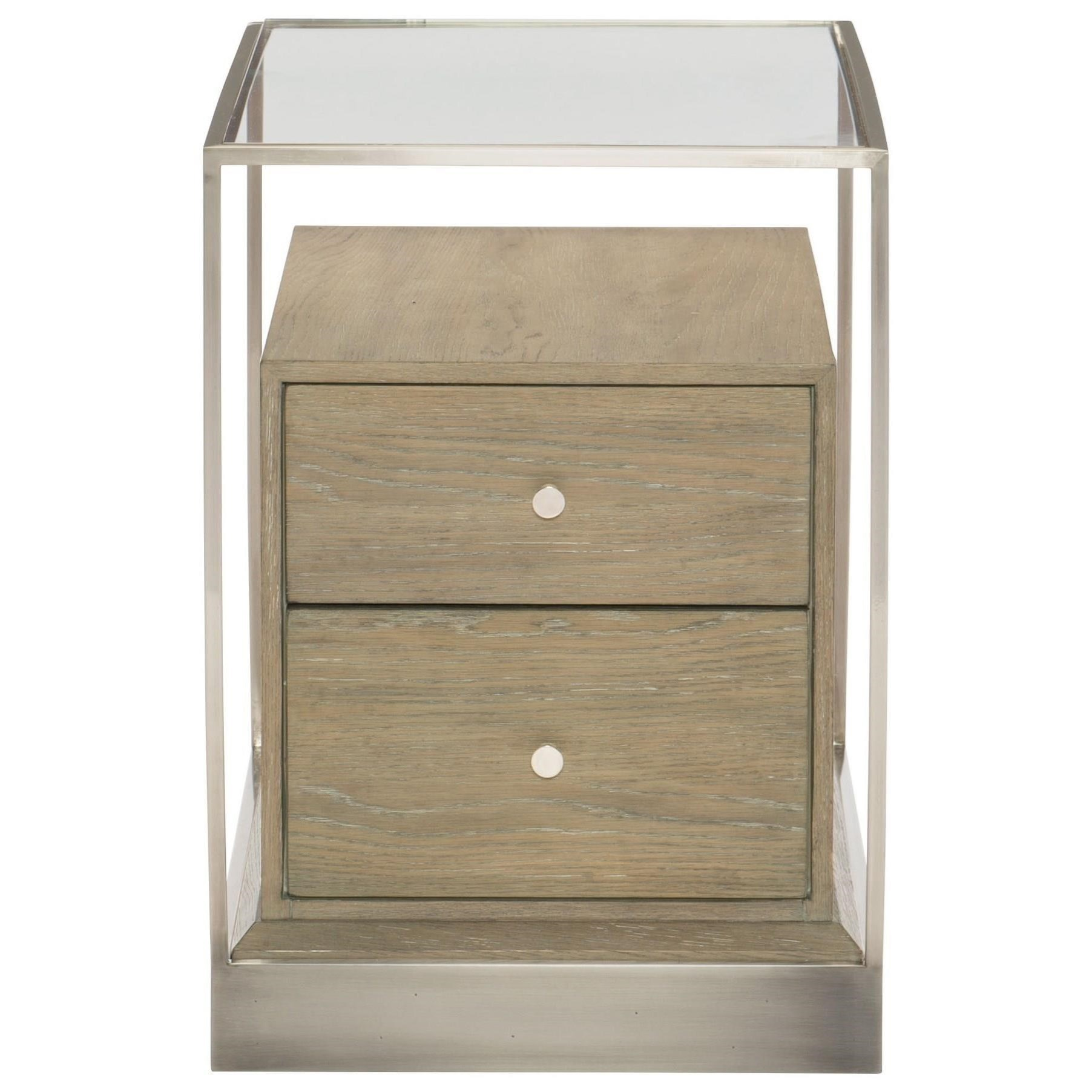 Bernhardt Bernhardt Interiors   Dempsey Contemporary End Table With  Stainless Steal Frame And Base