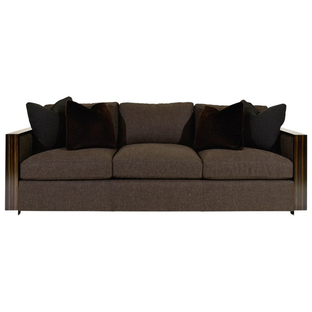 Bernhardt Bridges Sofa with Exposed Wood Arms and Metal Feet