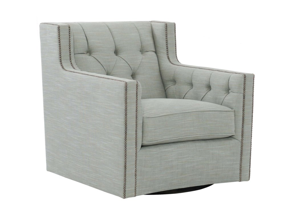 Bernhardt CandaceSwivel Chair with Nail Head Trim