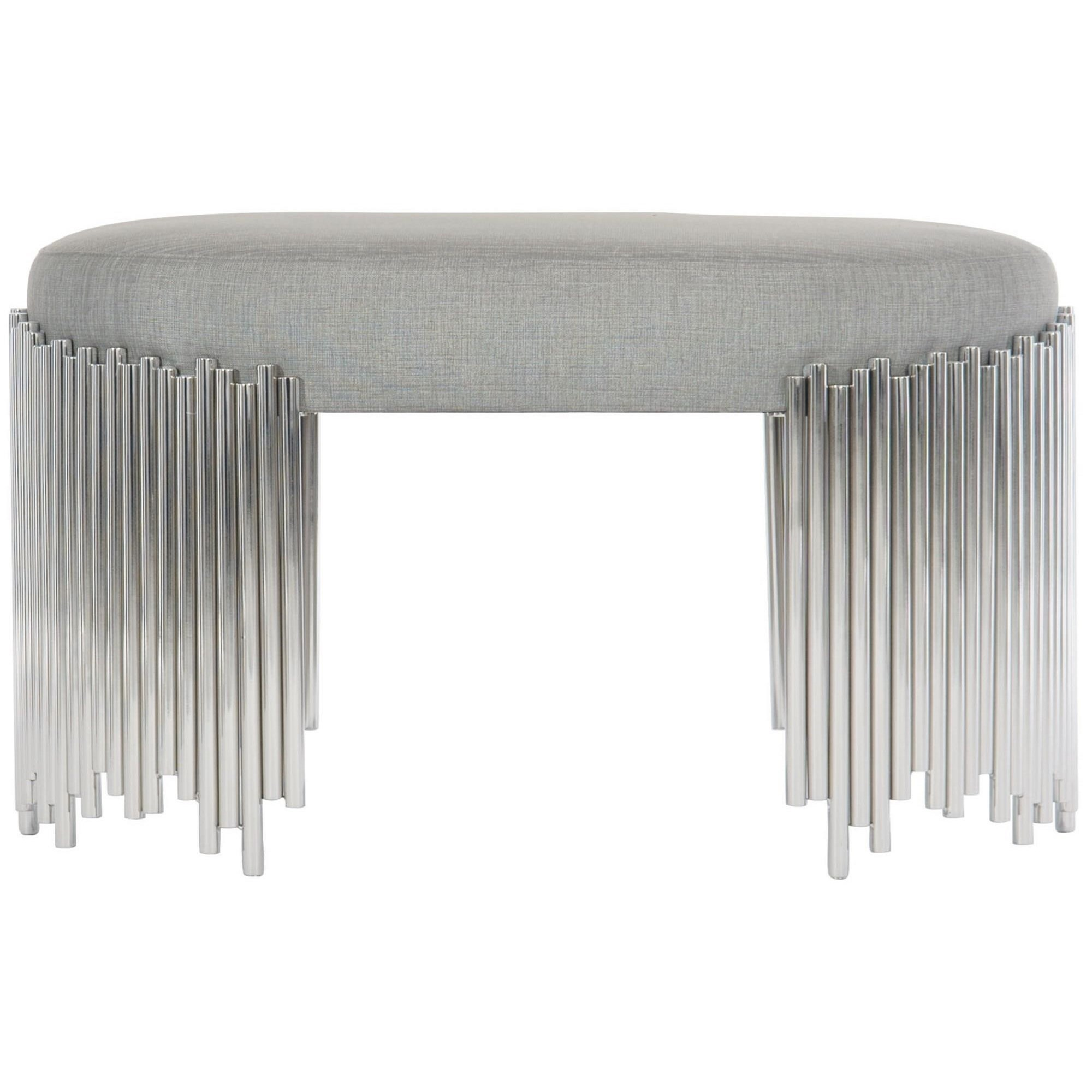 Transitional Oval Upholstered Bench with Customizable Fabric
