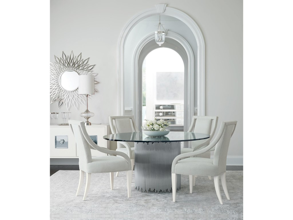 Bernhardt Calista Transitional 60 Round Dining Table With Metal Base And Glass Top Wayside Furniture Kitchen Tables