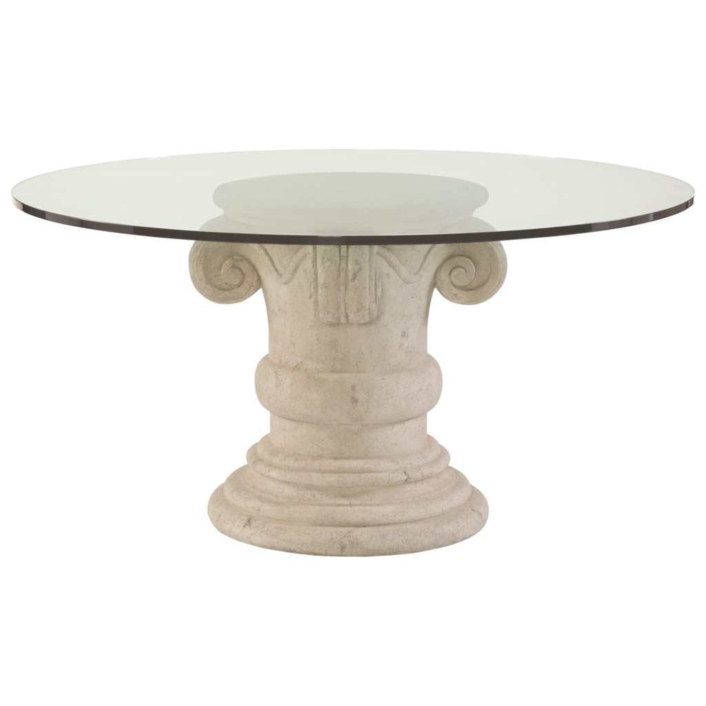 Bernhardt Campania Round Glass Top Dining Table With Crushed Stone