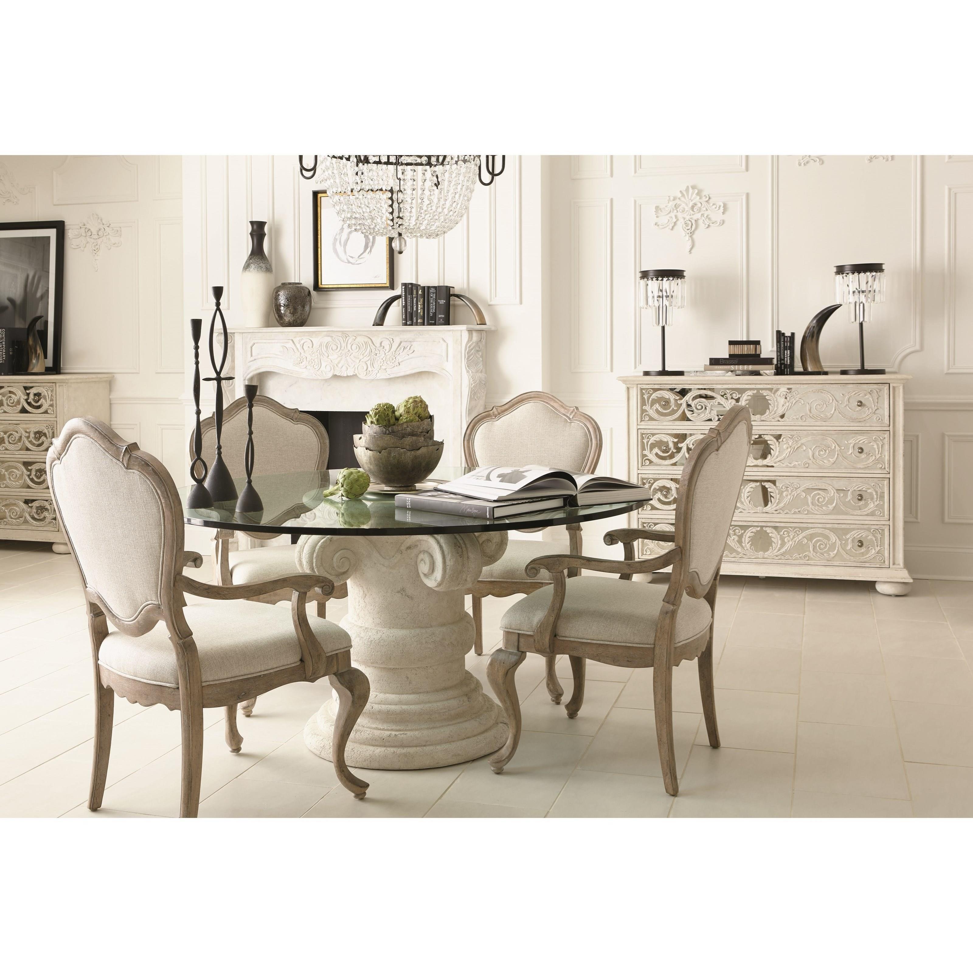 ... Bernhardt CampaniaRound Glass Top Dining Table ...