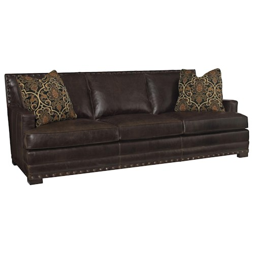 Bernhardt Cantor Leather Sofa with Nail Head Trim and Low-Set Arms