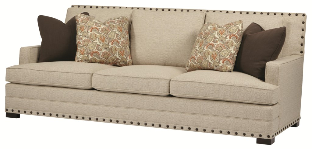 Bernhardt Cantor Leather Sofa with Nail Head Trim and Low Set Arms