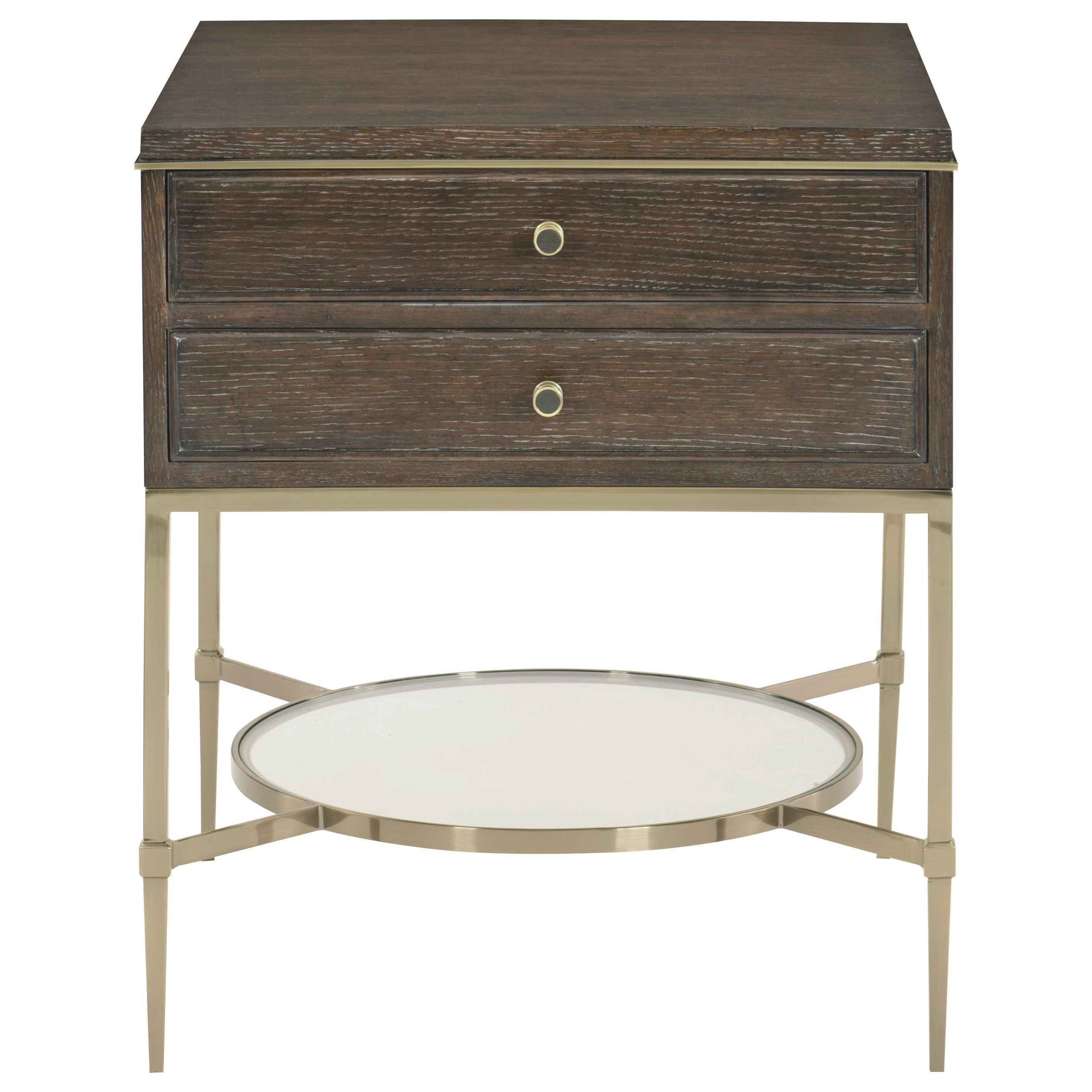 Bernhardt Clarendon Two Drawer Nightstand With Tempered
