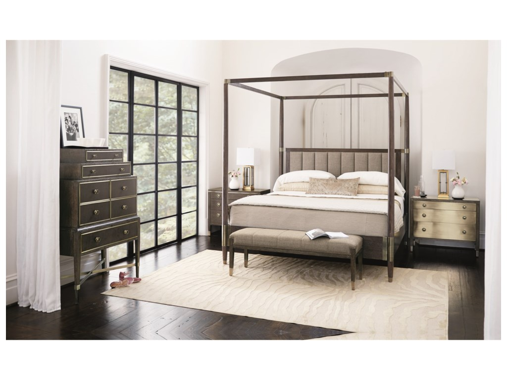 Bernhardt ClarendonKing Canopy Bed with Upholstered Headboard