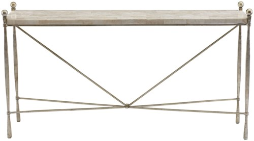 Bernhardt Clarion Console Table with Crystal White Stone Top