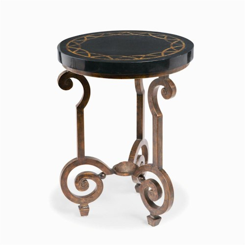 Bernhardt Connery Stone/Cast Iron Chairside Table