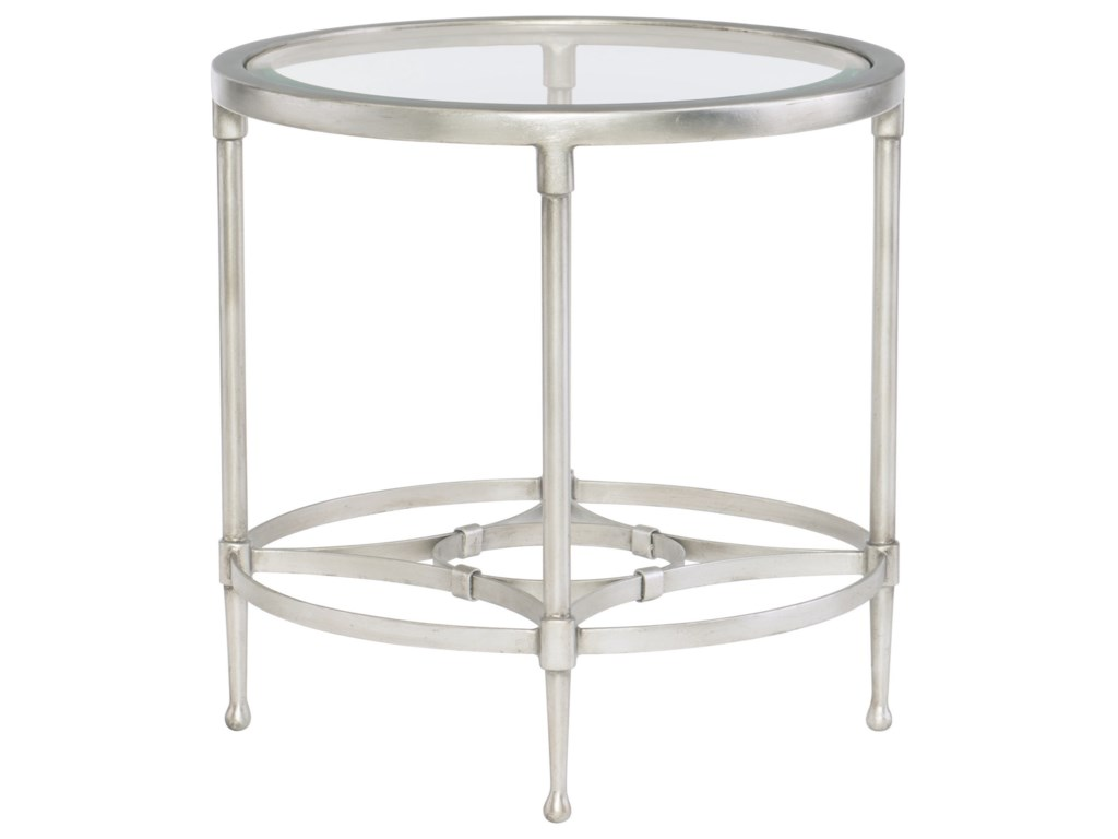 Bernhardt CordeliaRound Metal End Table with Glass Top