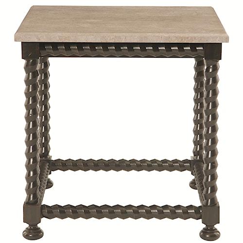 Bernhardt Cordova Square End Table with Travertine Stone Top