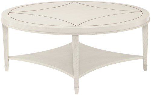 Bernhardt Criteria Round Cocktail Table with Stainless Steel Inlay