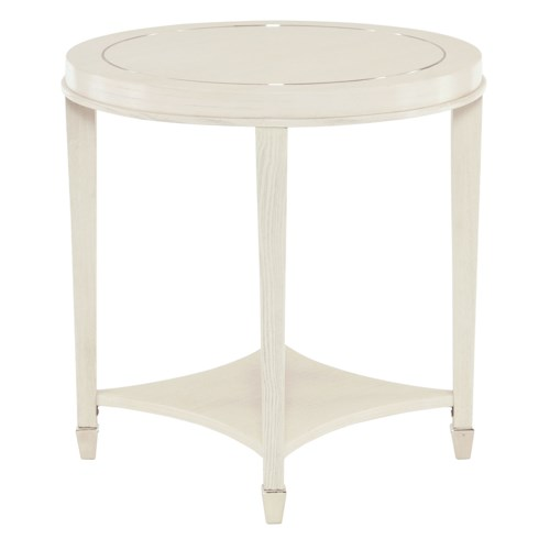 Bernhardt Criteria Round End Table with Stainless Steel Inlay