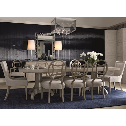 Bernhardt Criteria 9 Piece Dining Set with Upholstered End Chairs