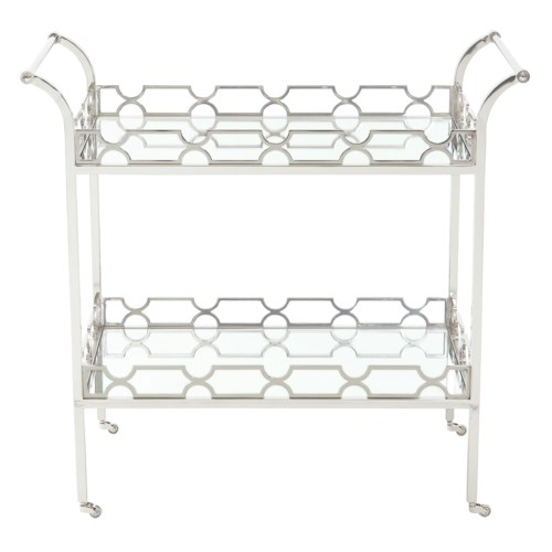 Bernhardt Criteria Metal Bar Cart with 2 Glass Shelves