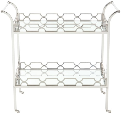 Bernhardt Criteria Metal Bar Cart with 2 Glass Shelves
