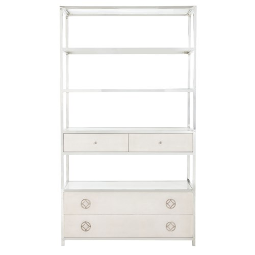 Bernhardt Criteria Metal Bookcase with Bonded Leather Covered Drawer Fronts