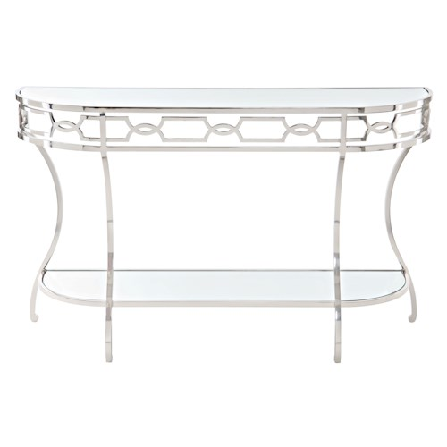 Bernhardt Criteria Metal Console Table with Mirrored Glass Shelves