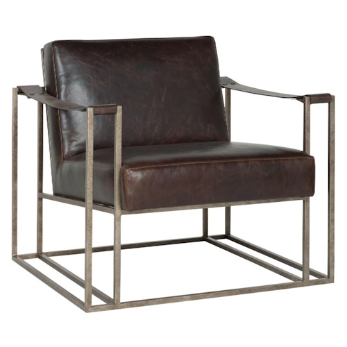 Bernhardt Dekker Industrial Leather Chair with Metal Arms