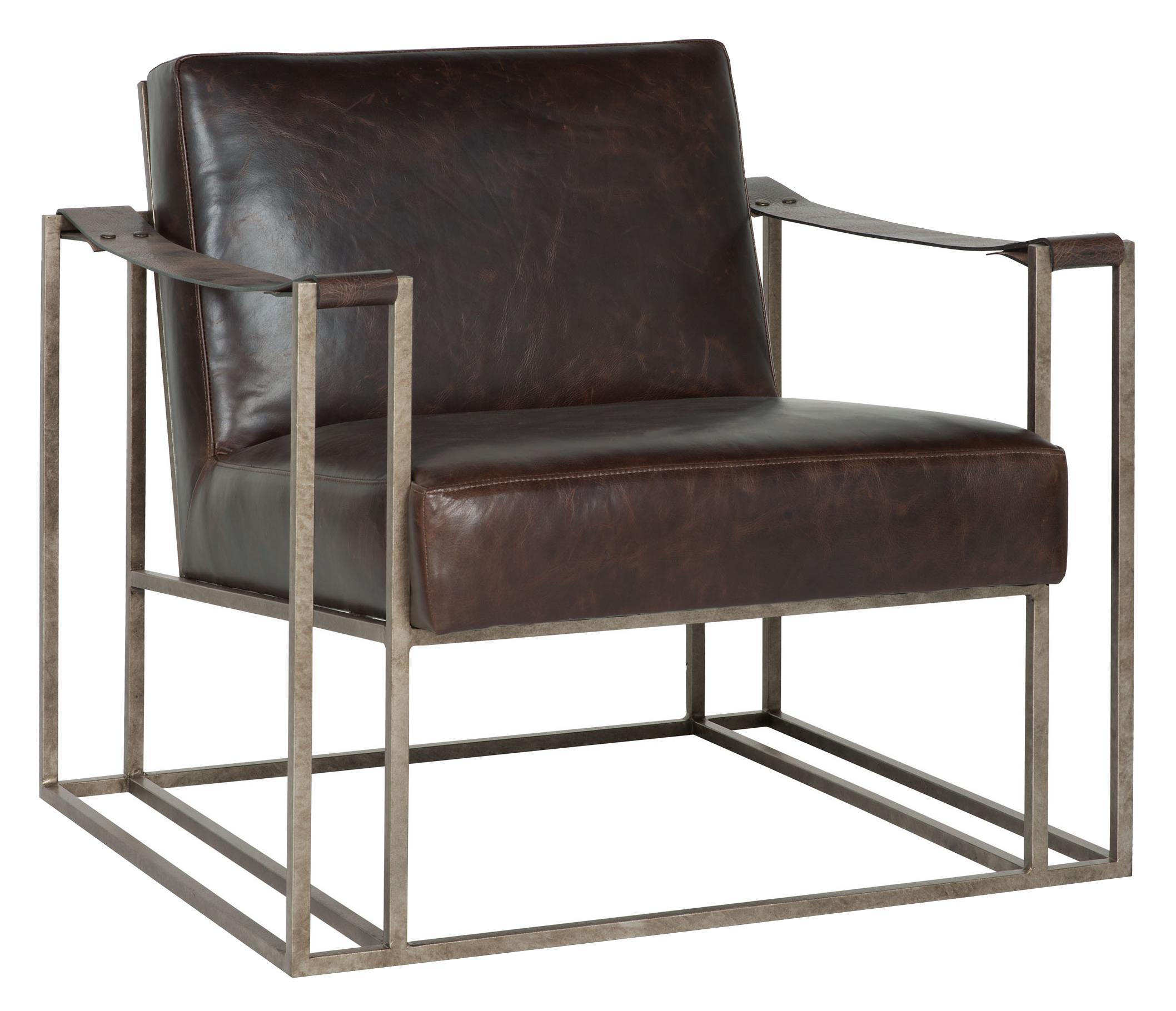 Attirant Bernhardt Dekker Dekker Industrial Leather Chair With Metal Arms