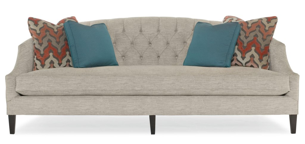 bernhardt diane contemporary sofa with button-tufted back and