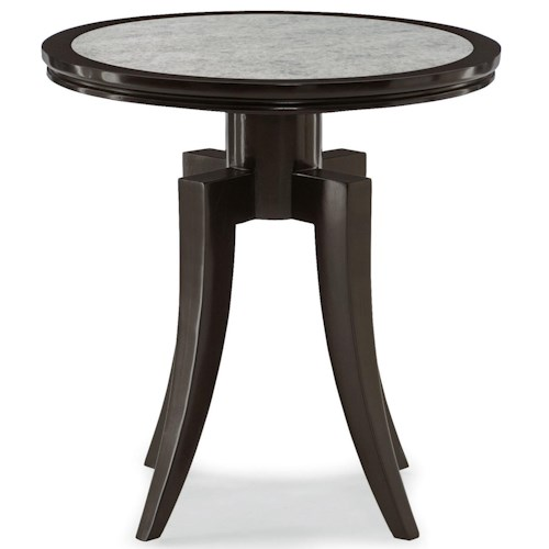 Bernhardt Dubois Round End Table with Antiqued Mirror Glass Top