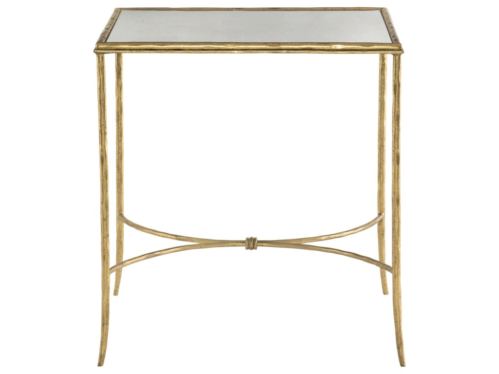 Bernhardt Evesham Square Metal End Table With Antique Mirror Top