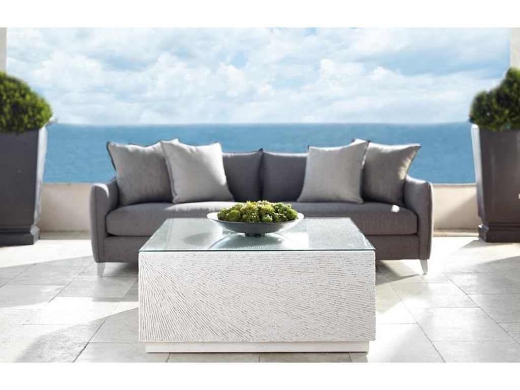 Bernhardt Exteriors Tenerife Contemporary Square Coco Twig Cocktail Table Howell Furniture Outdoor Cocktail Coffee Tables