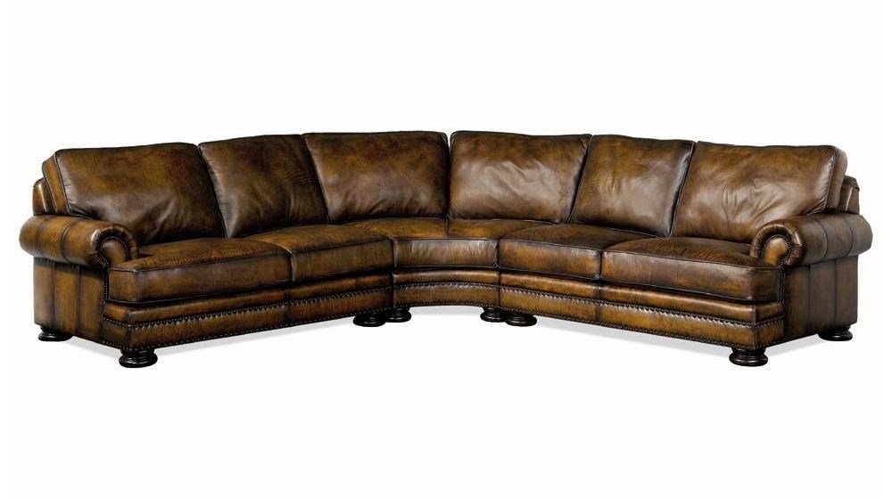 Bernhardt Foster Leather Sectional Sofa With Nailhead Trim