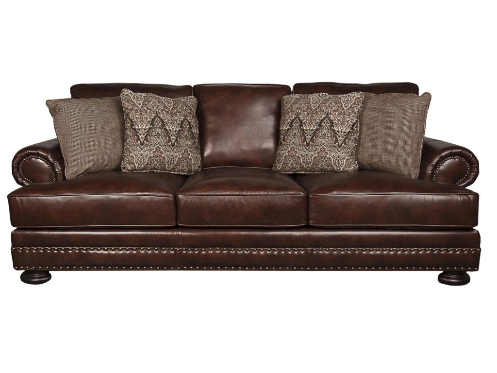 Bernhardt Foster Classic 100% Leather Sofa with Nailhead Trim and ...