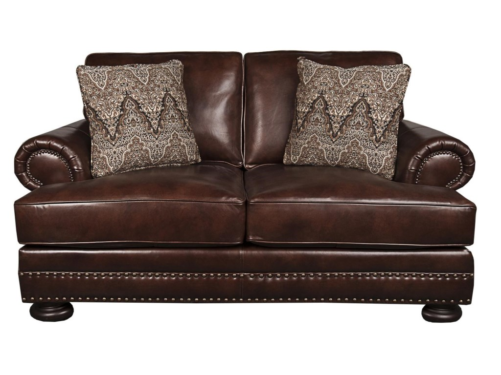 Bernhardt Foster Classic 100% Leather Loveseat with Nail head Trim ...