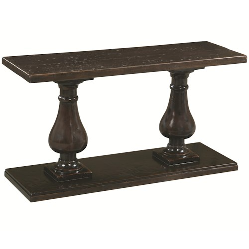 Bernhardt Freeport Console Table with Double Pedestal Base