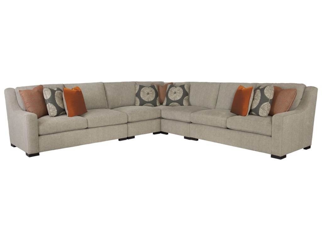 Bernhardt Germain Contemporary Sectional With Spring Down Cushions Belfort Furniture Sofas