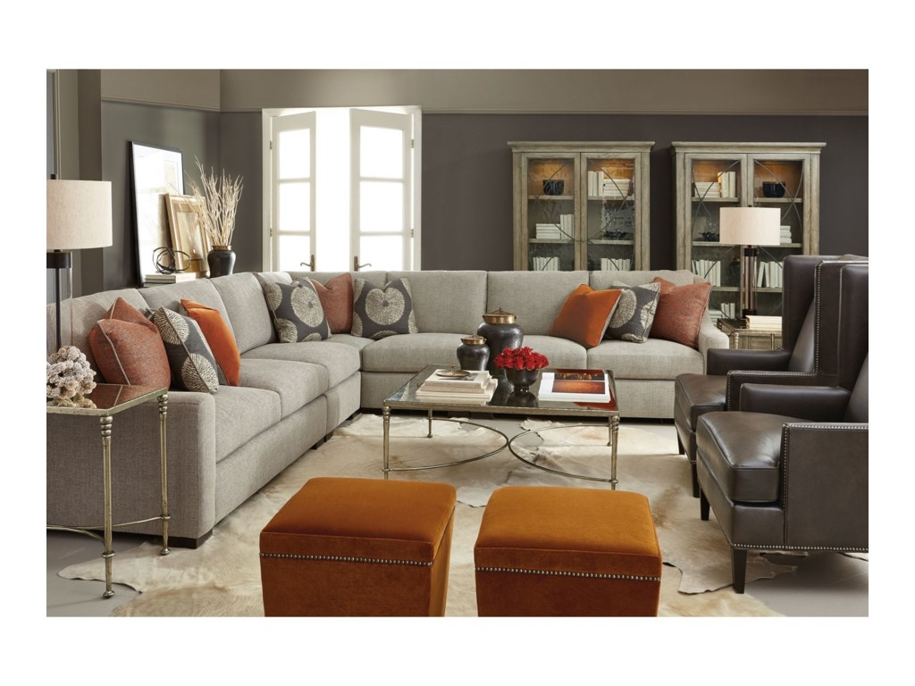 Bernhardt Germain Contemporary Sectional with Spring Down