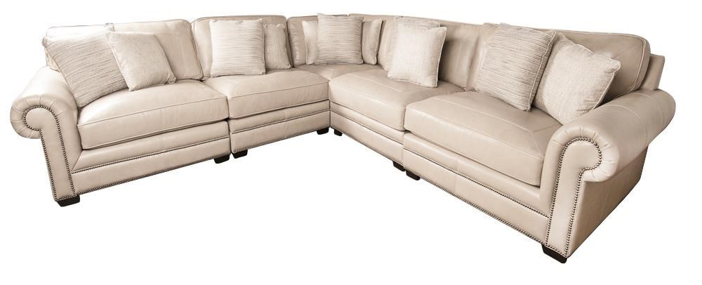Bernhardt Grandview 100 Leather Sectional Sofa With Nail Head Trim