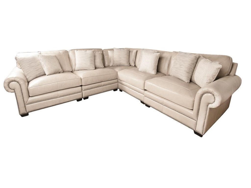Grandview 100 Leather Sectional Sofa With Nail Head Trim And Accent Pillows By Bernhardt At Morris Home