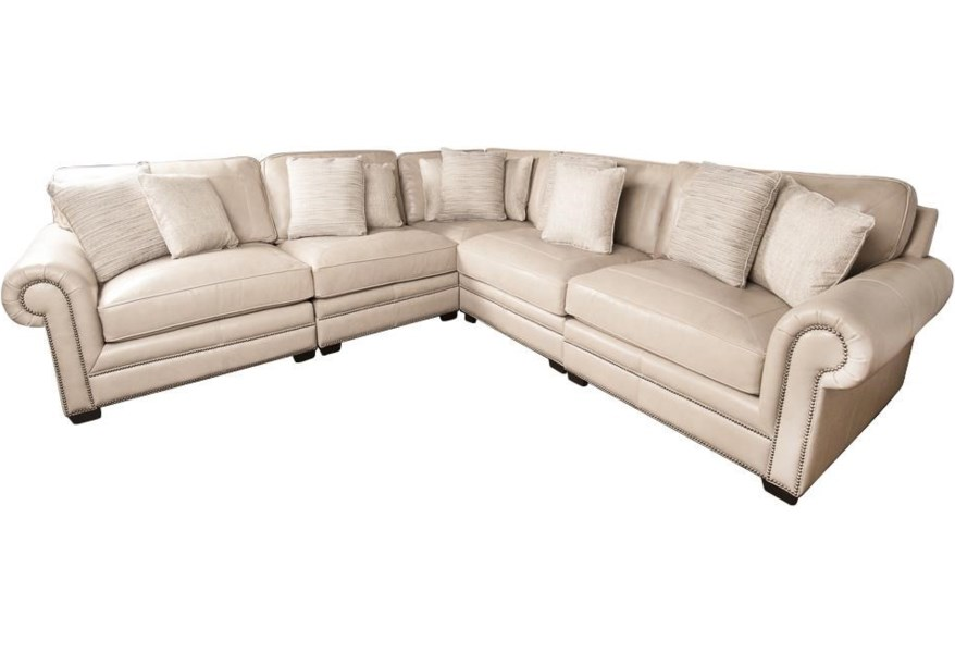 Bernhardt Grandview 100 Leather Sectional Sofa With Nail Head Trim And Accent Pillows Morris Home Sectional Sofas