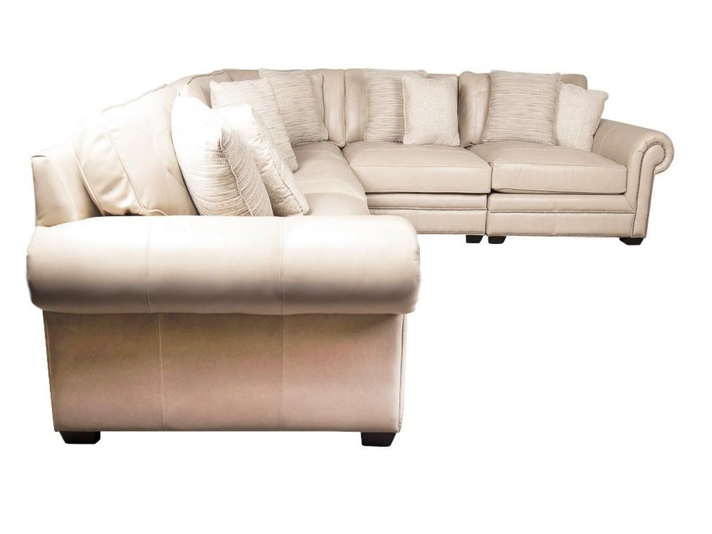 Grandview 100% Leather Sectional Sofa with Nail Head Trim and Accent  Pillows by Bernhardt at Morris Home