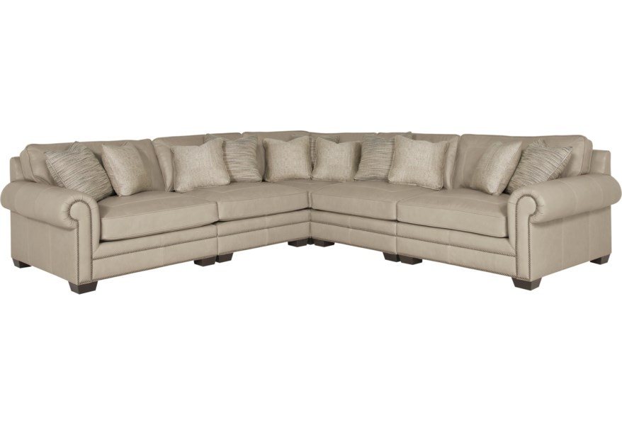 Traditional Sectional Sofa Luxury Tufted Beige Chenille ...