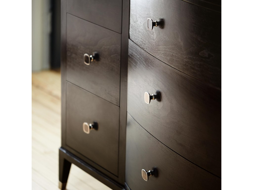 Curved Drawers Front with Metal Hardware in a Vintage Nickel Finish
