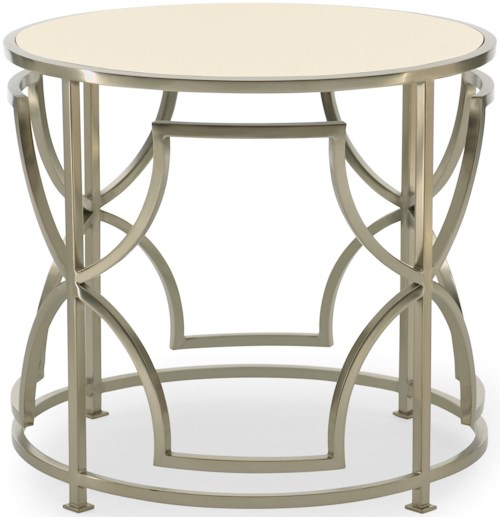 Bernhardt Haven Drum Table with Metal Geometric Base