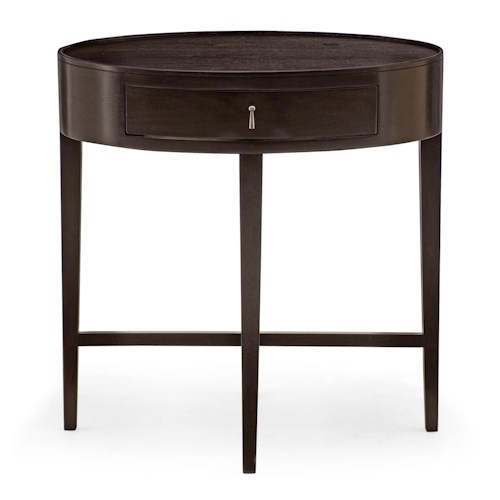 Bernhardt Haven 1 Drawer Oval Shaped Nightstand