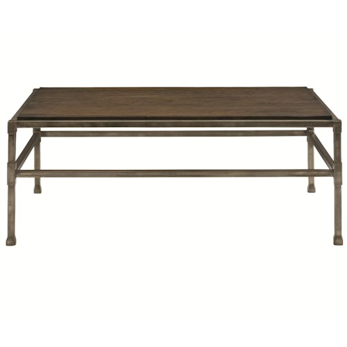 Bernhardt Huntington Rectangular Cocktail Table with Metal Base and Stretchers