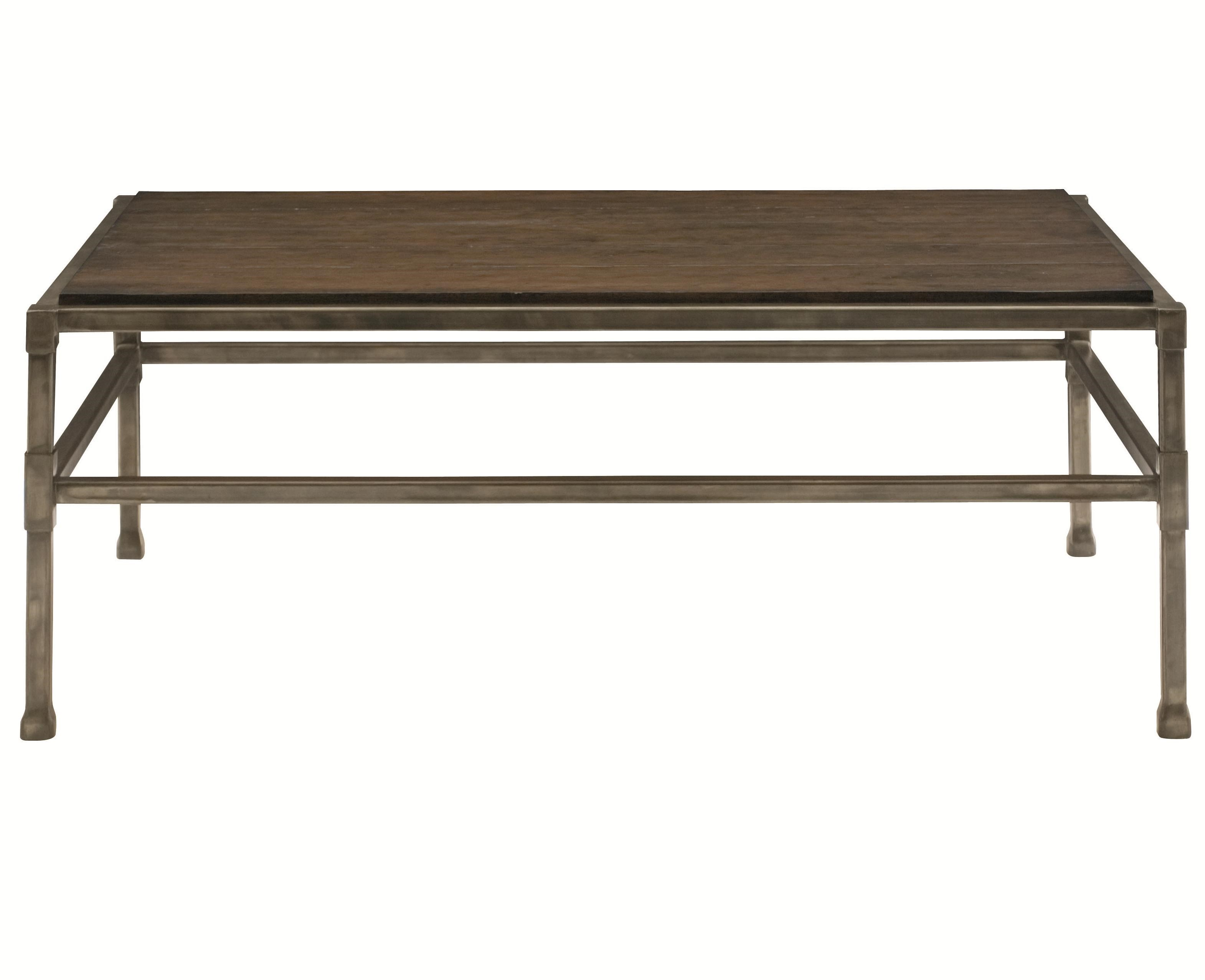 Huntington Rectangular Cocktail Table With Metal Base And Stretchers By  Bernhardt