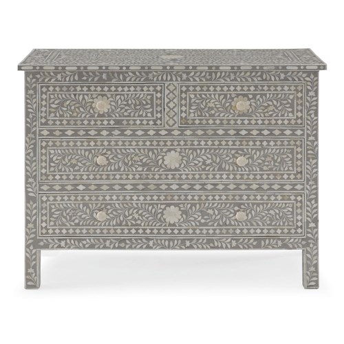 Bernhardt Interiors - Accents Hatha 4 Drawer Cabinet with Bone Inlay Design