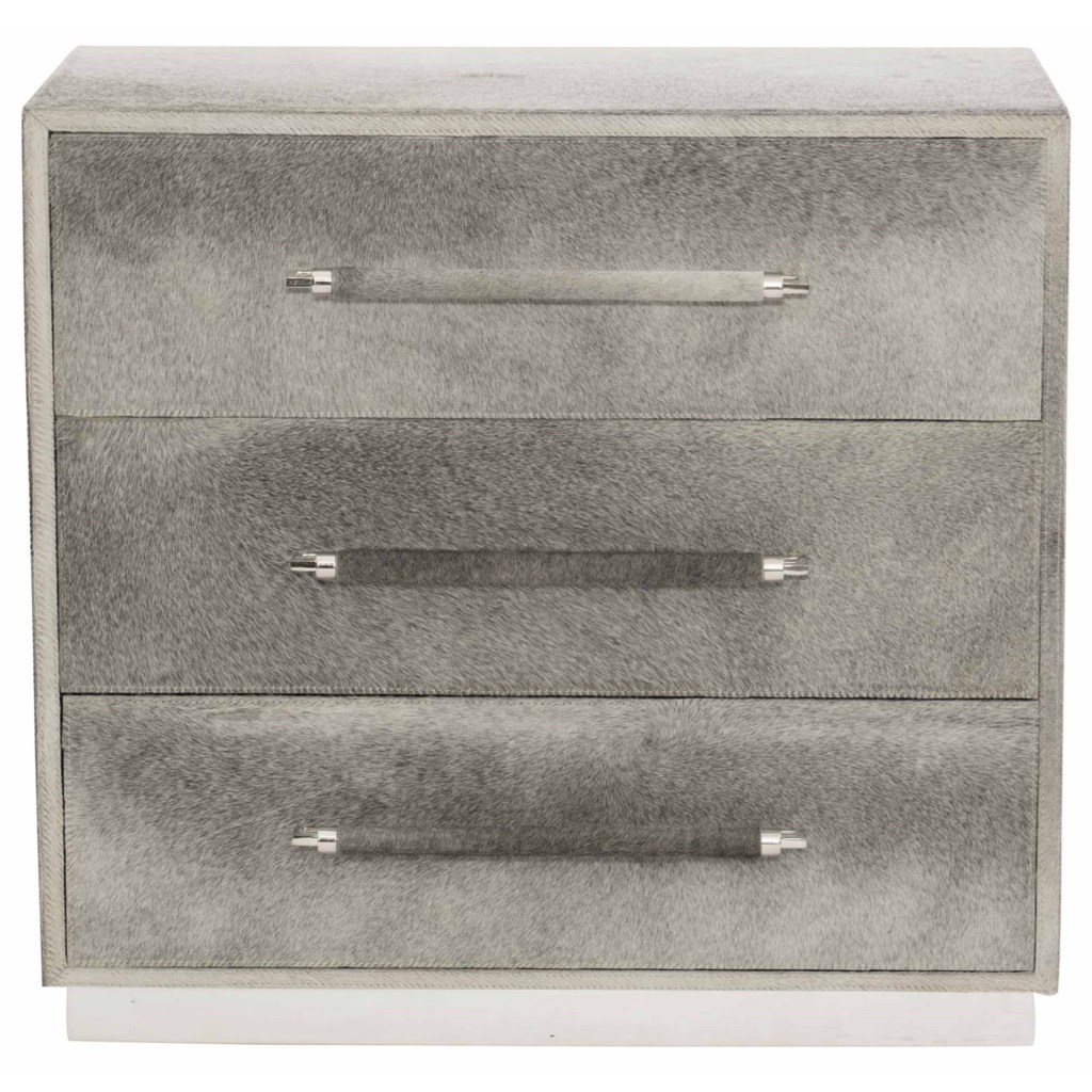 Interiors accents parkin hair on hide nightstand with 3 drawers by bernhardt