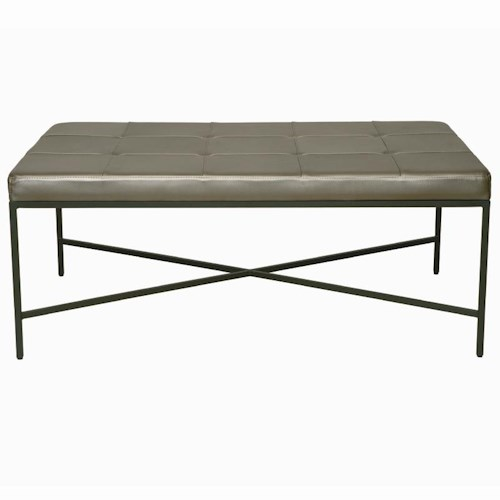 Bernhardt Interiors - Accents Ulster Leather Ottoman with Metal Base