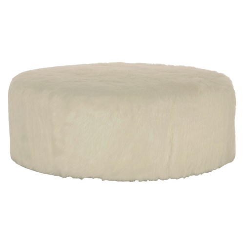 Bernhardt Interiors - Accents Tyre Round Ottoman with Contemporary Fur Cover