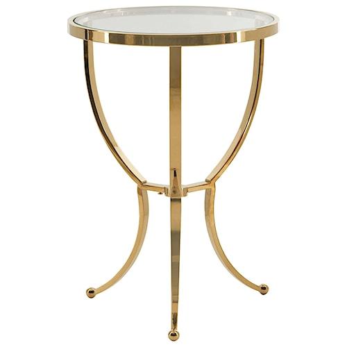 Bernhardt Interiors Adella Round Chairside Table In Bright Br Finish